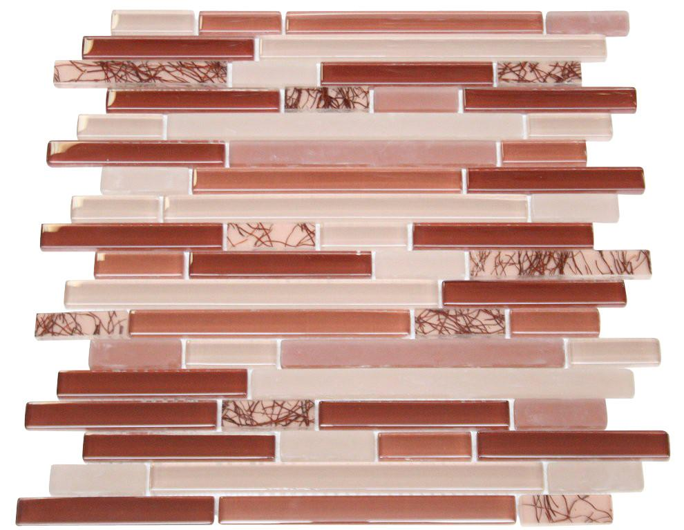 Glossy Wine Red with Red Plant Pieces Random Brick Pattern Mosaic Tiles