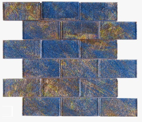 2x4 Glossy Glitter Blue and Red Sky Subway Glass Mosaic Tiles for Bathroom and Kitchen Walls Kitchen Backsplashes by Vogue Tile - Free Shipping