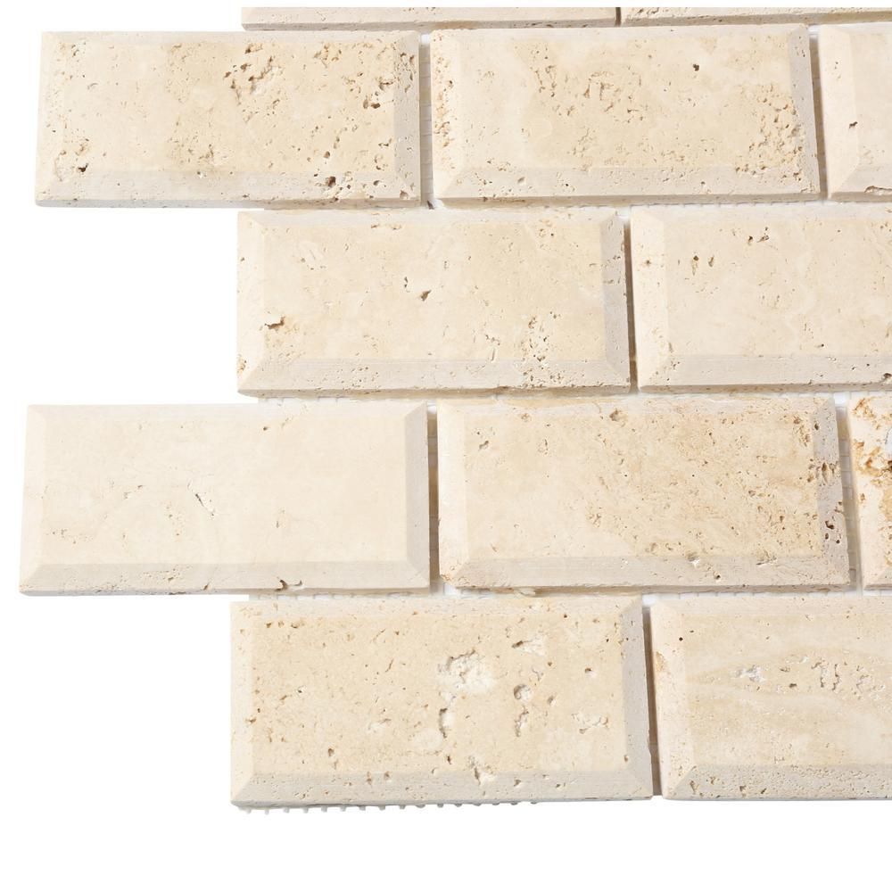 MS International Tuscany Ivory 12 in. x 12 in. x 10 mm Honed Beveled Travertine Mesh-Mounted Mosaic Tile