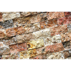 "Roman 1 X 2 Split-Faced Travertine Brick Mosaic Tile ( on 12"" x 12"" Mesh Sheet)"