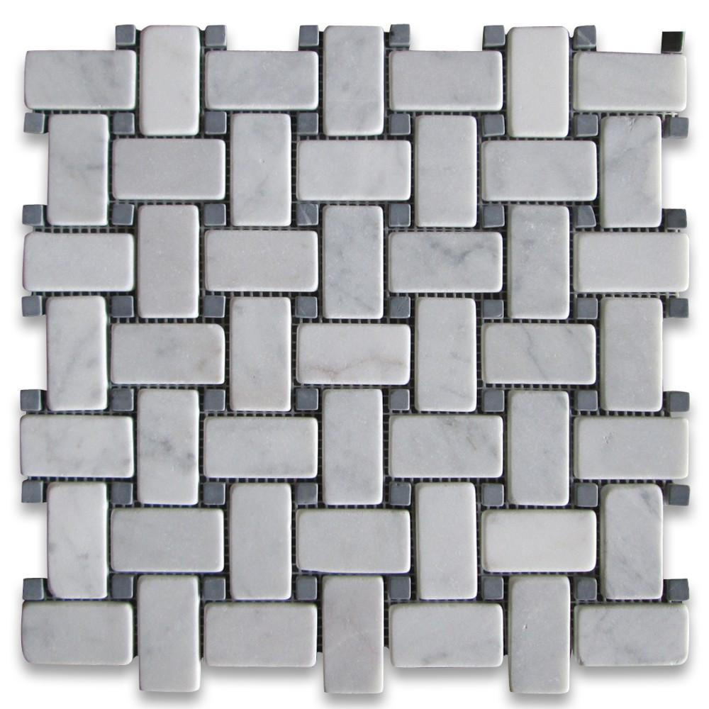 Carrara Marble Italian White Bianco Carrera Basketweave Mosaic Tile with Nero Marquina Black Dots Tumbled