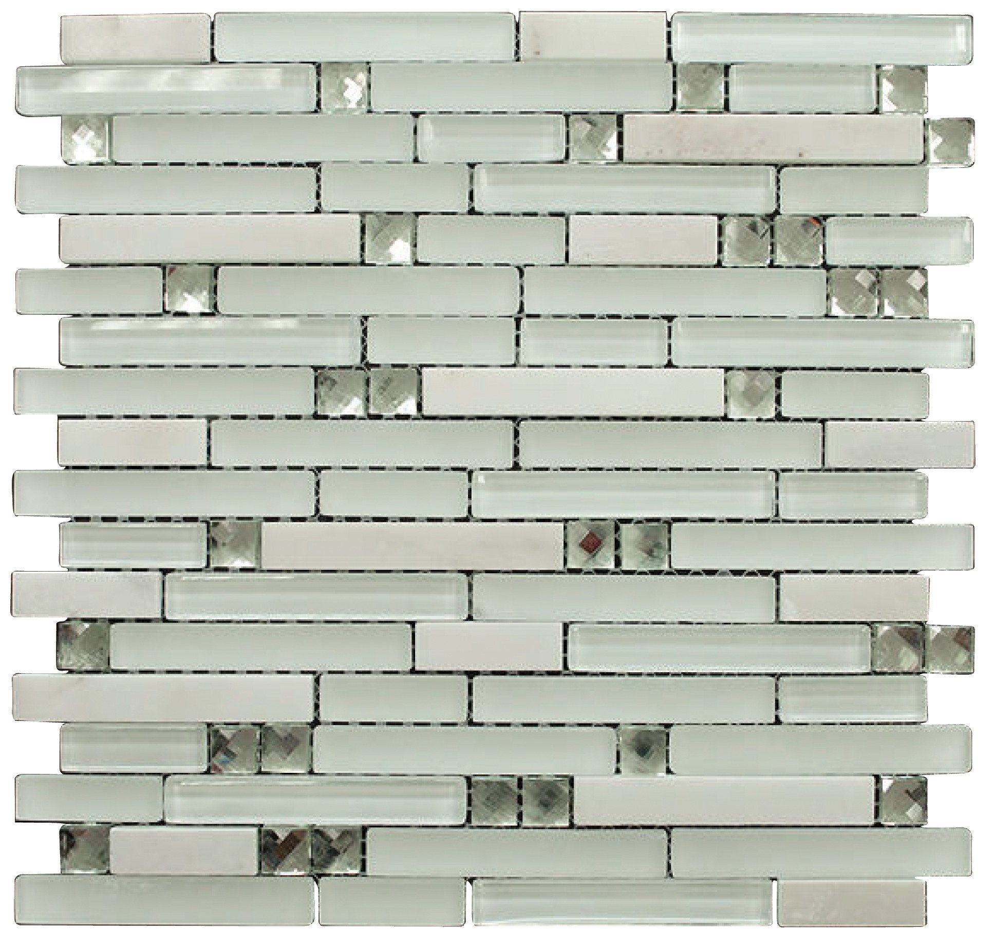 Matte and Glossy White Luxury Diamond Glass Mosaic Tiles