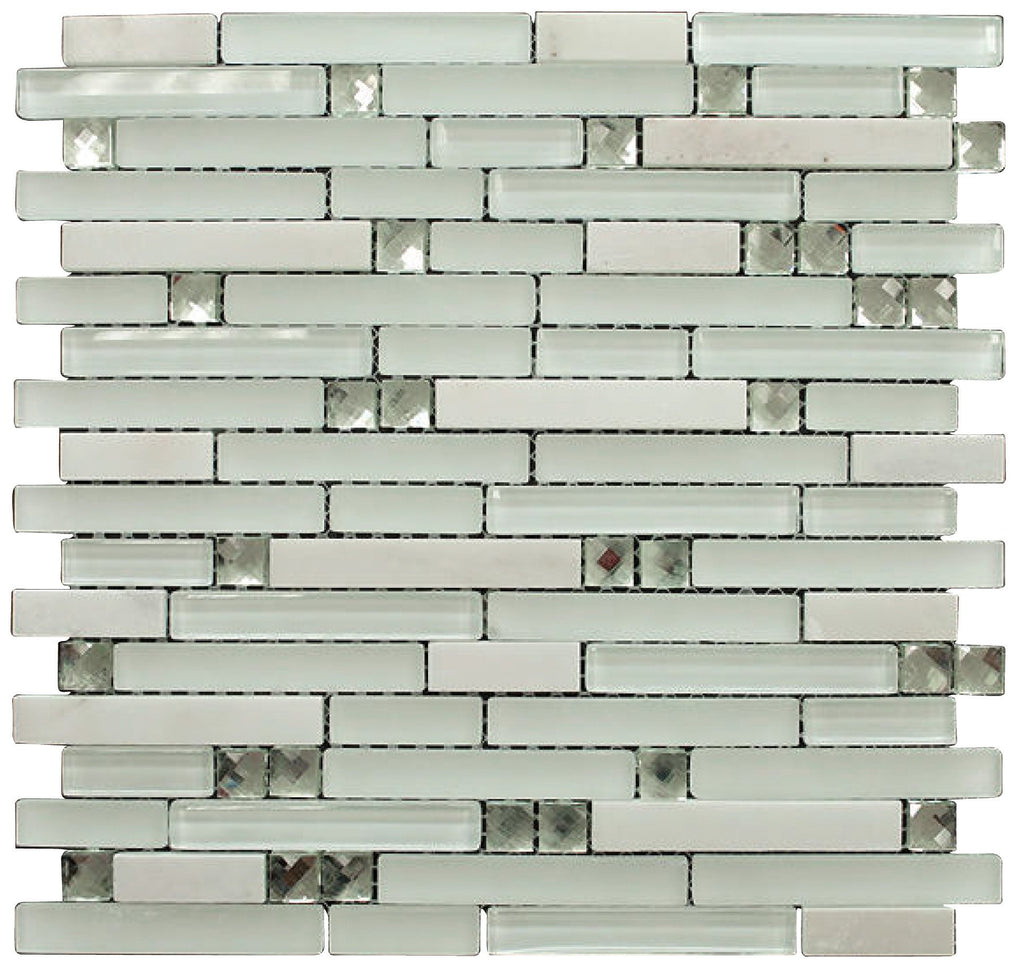 Matte and Glossy White Luxury Diamond Glass Mosaic Tiles - Free Shipping