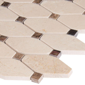 MS International Valencia Blend Elongated Octagon  Polished Marble Mesh-Mounted Mosaic Tile - free Shipping