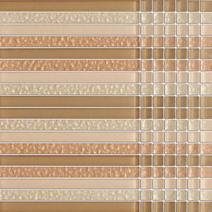 Cream Glossy Stripes and Square Mixed Glass Mosaic Tiles