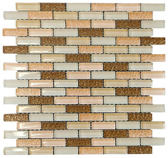 Brown and Pinky Crystal Glass Mosaic Tile Brick Pattern (Glossy&Matte)