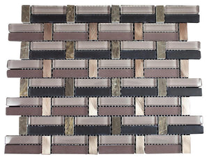 Glossy Pink and Black & Brown Marble & Silver Aluminum Authentic Glass Mosaic Tiles