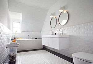 "Vogue Premium Quality 2"" White Porcelain Square Mosaic Tile Shiny Look Designed In Italy (12x12)  - Free Shipping"