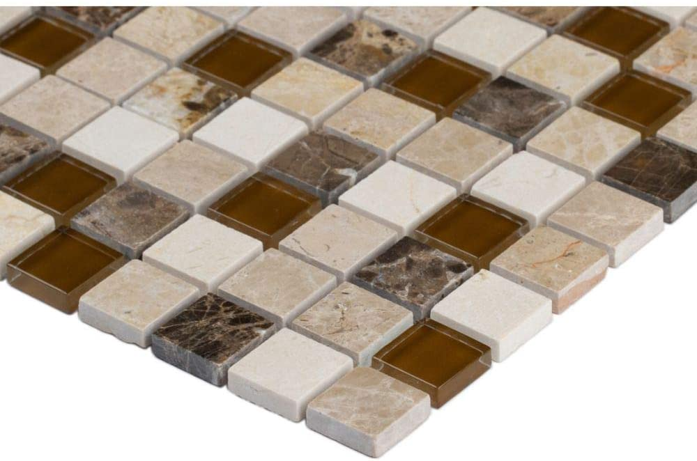 MSI Ibiza Blend 12 in. x 12 in. x 8mm Glass and Stone Mesh-Mounted Mosaic Tile (Box of 10 Sheets) - Free Shipping