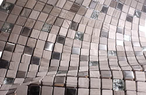 Light Grey Luxury Square Pebble Stone with Stainless Steel Mosaic Tiles for Bathroom and Kitchen Walls Kitchen Backsplashes (Free Shipping)