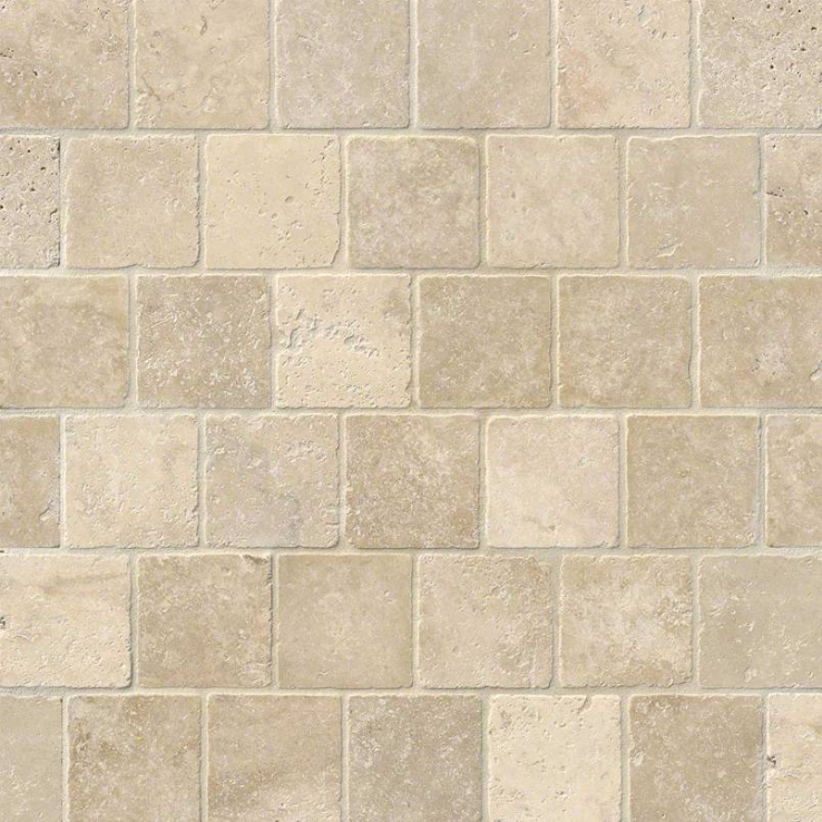 "MS International Crema Marfil 4"" x 4"" Tumbled Marble Floor and Wall Tile"