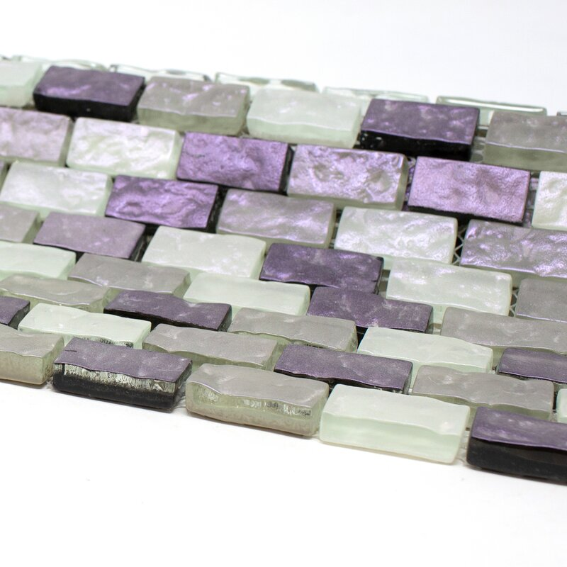 Purple and White and Gray Brick Shell Glass Mosaic Tile for Backsplash  -  Free Shipping
