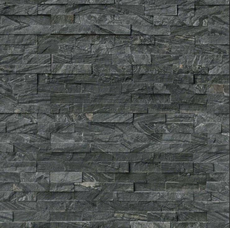 MSI Glacial Black Ledger Wall Panel 6 in. x 24 in. Natural Stone Tile - Free Shipping