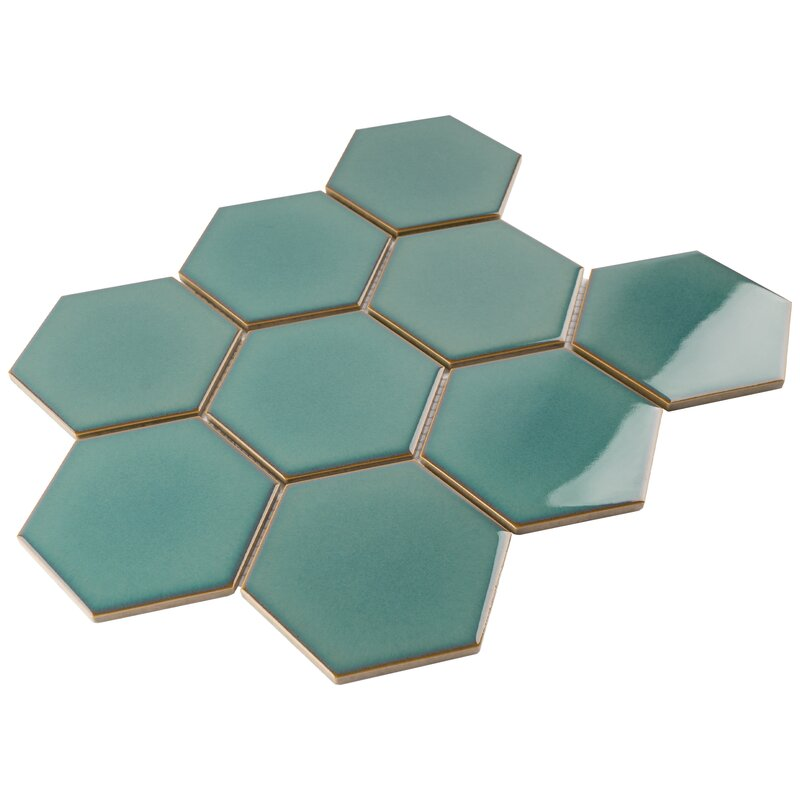 Premium 4 inch Hexagon Green Porcelain Mosaic Sheet Wall Tile for Bathroom, Floor Tile and Kitchen Backsplash (11 Sheets / case) - Free Shipping