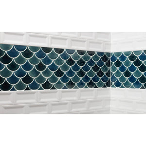 MSI Azul Scallop Glossy 13.11 in. x 9.96 in. x 8 mm Glazed Ceramic Mesh-Mounted Mosaic Tile - Free Shipping