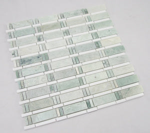 Ming Green, Thassos White; Marble Mosaic Tile; White and Green Marble Mosaic; Bathroom Marble Mosaic.