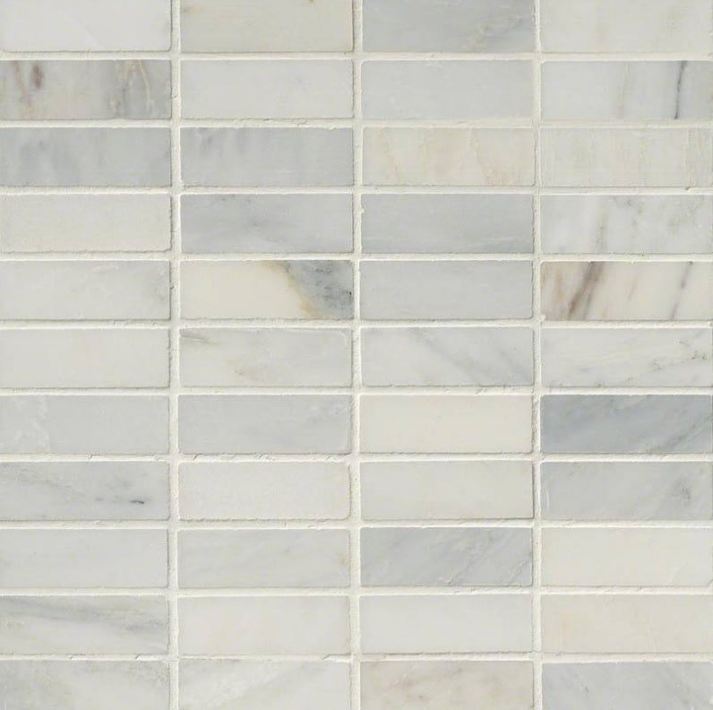 "MS International ArabescatoCarrara 1x3 Honed Marble Mosaic in 12"" x 12"" Sheet"