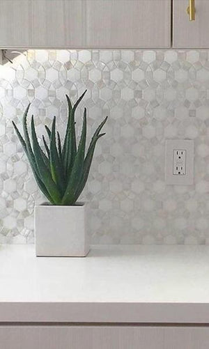 Carrara Hexagon Marble with Mix Circulos Mother of Pearl Tiles On Mosaic Sheet - Free Shipping
