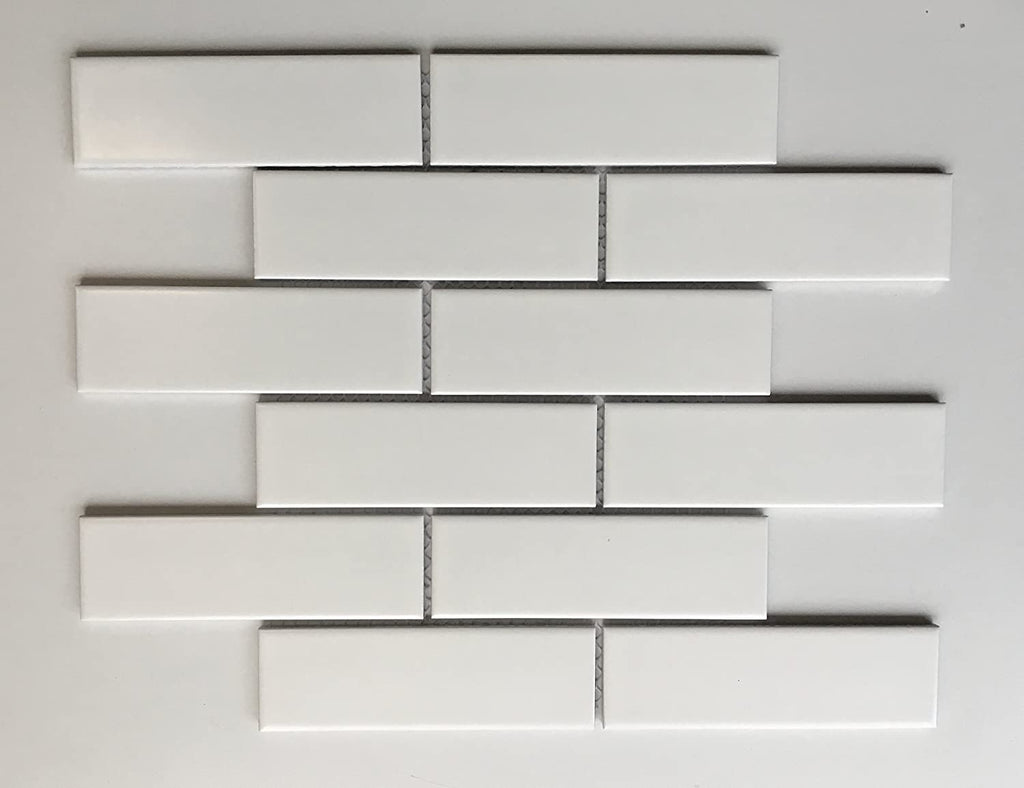 "2"" X 6""  White Porcelain Brick Mosaic Tile - Matte Finish , Wall Tile, Backsplash Tile, Bathroom Tile, Vogue Brand Designed in Italy"