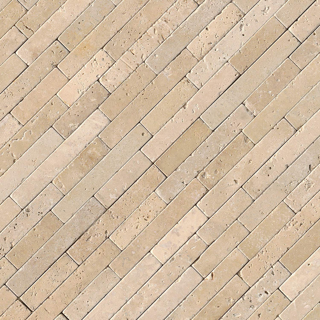 MS International Tuscany Beige Veneer 8 In. X 18 In. X 10 mm Tumbled Travertine Mesh-Mounted Mosaic Tile, (10 sq. ft., 10 pieces per case)
