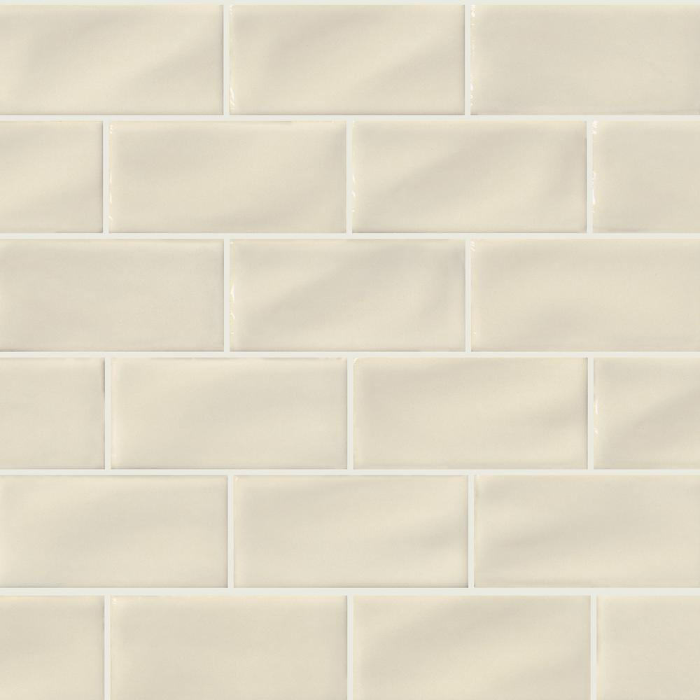 MS International Antique White 3 in. x 6 in. Handcrafted Glazed Porcelain Wall Tile