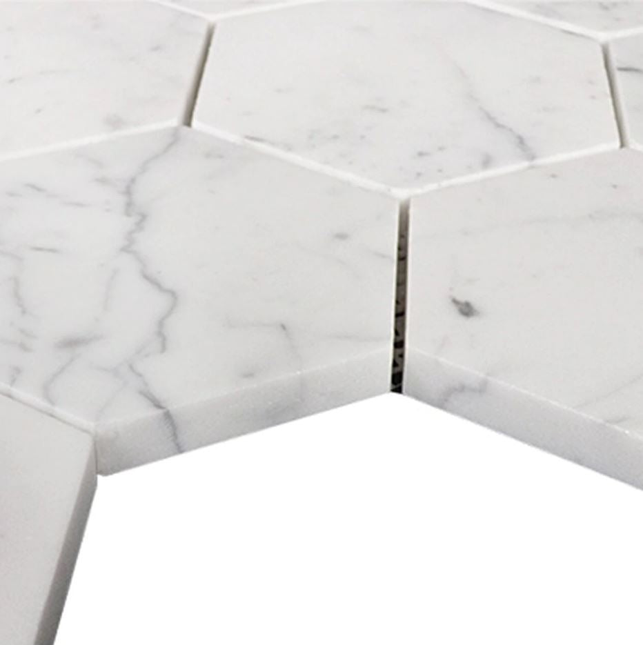 Carrara White Marble 4 inch Hexagon Mosaic Tile Honed for Kitchen Backsplash Bathroom Flooring Shower Surround Dining Room Entryway Corrido Spa - Free Shipping