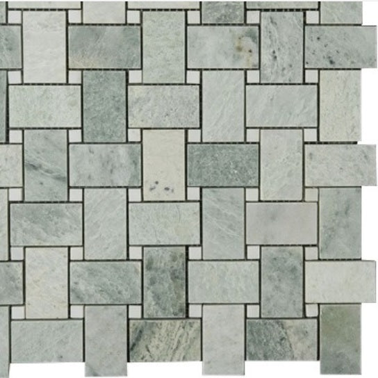 Ming Green Marble Basketweave with White Dot Polished