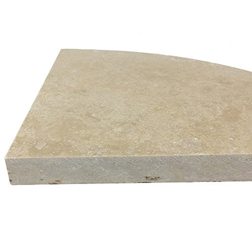 Premium Quality Durango Cream Filled and Honed Ivory Light Travertine Corner Shelf 9'' By Vogue Tile