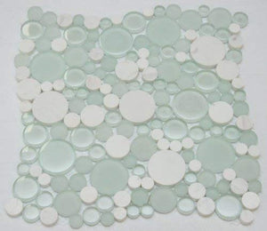 Bubbles Snow Dove Mosaic Tiles with White Marble with Frosted and Polished Glass
