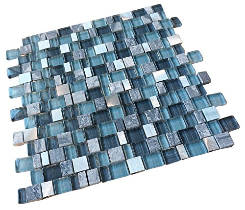 Glossy Blue and Blue Stone Random Brick Cubes Pattern Glass Mosaic Tiles for Bathroom and Kitchen Walls Kitchen Backsplashes (Free shipping)
