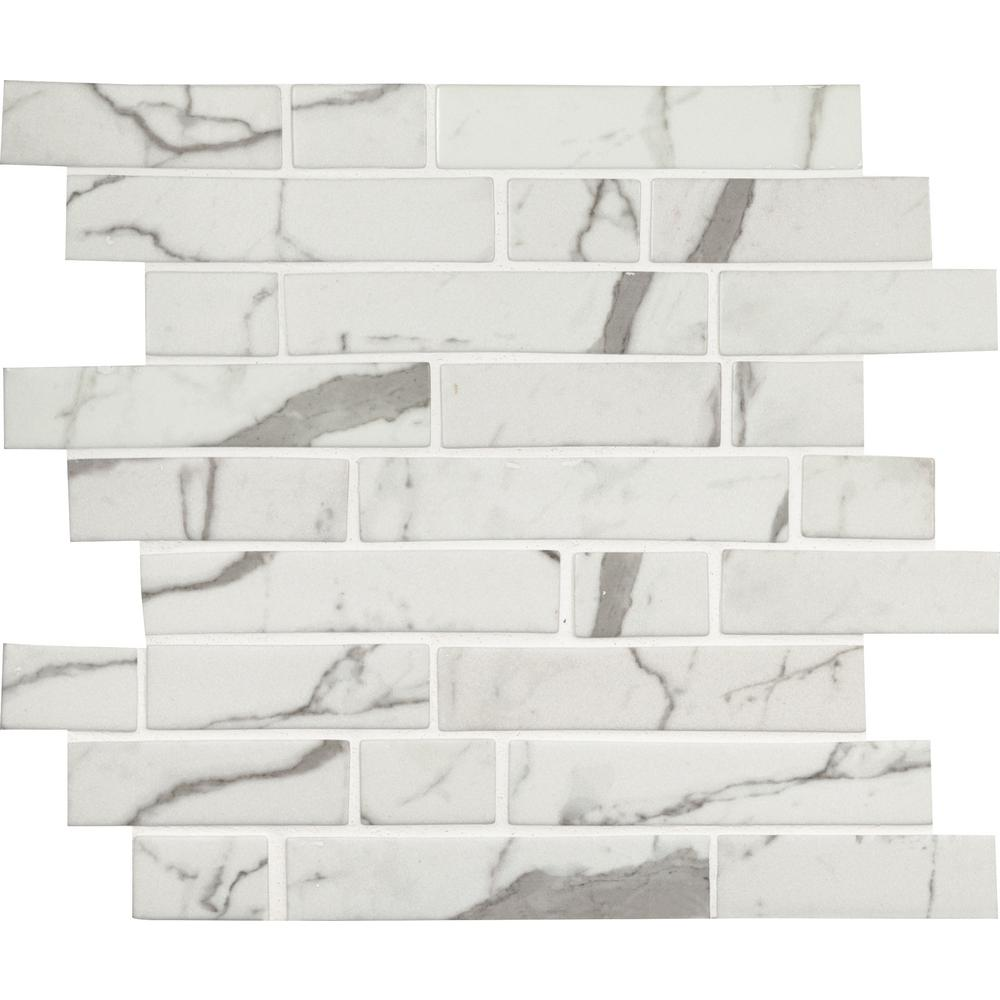 MSI Statuario Celano Interlocking 11.81 in. x 11.81 in. x 6mm Glass Mesh-Mounted Mosaic Tile