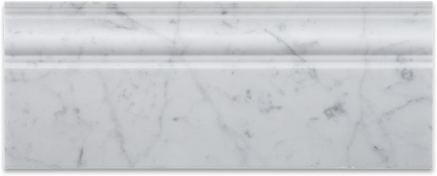 Italian Carrara White Marble Polished 5 X 12 Baseboard - Free Shipping (Honed or Polished)