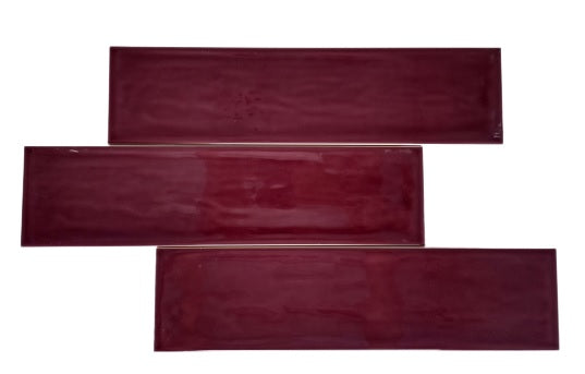 "Hand made Purple Wine Glossy 3"" x 12"" Subway Ceramic Tile - for Bathroom Walls, Kitchen Backsplashes - Free Shipping"