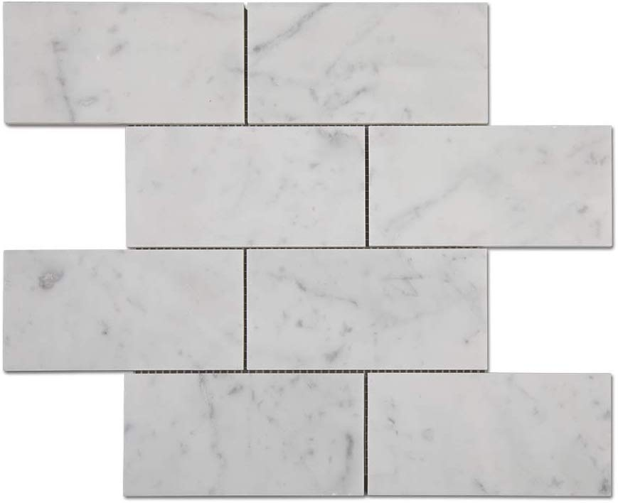 "Carrara Marble Italian White Bianco 3x6"" Marble Subway Tile  - Polished"