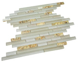 Matte White & Glossy Golden Sea Shells Glass Mosaic Tiles (Random Pattern)
