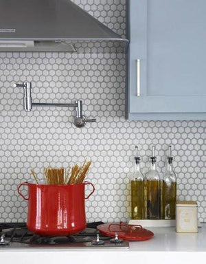 "White 1"" Hexagon Porcelain Mosaic Tile on mesh Sheet - Free Shipping"