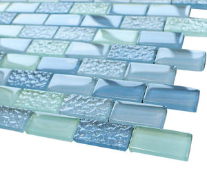 Pool Wave Crystal Subway Glass Mosaic Tiles