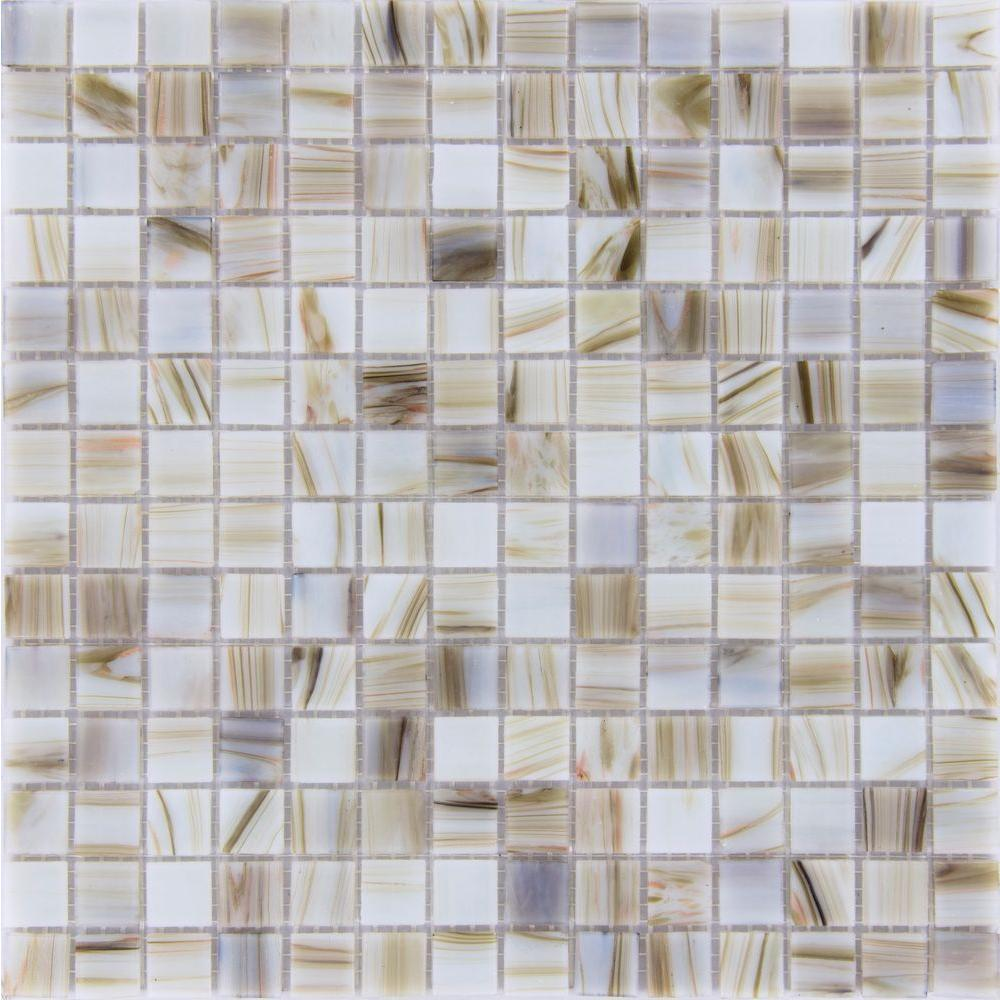 MS International Ivory Iridescent 12 in. x 12 in. x 4 mm Glass Mesh-Mounted Mosaic Tile