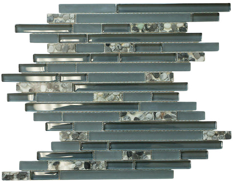 Matte Night Blue & Glossy Grey Sea Shells Glass Mosaic Tiles (Random Pattern)