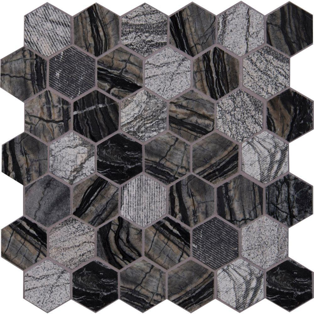 MS International Henley Hexagon 12 in. x 12 in. x 10 mm Natural Marble Mesh-Mounted Mosaic Tile - Free Shipping