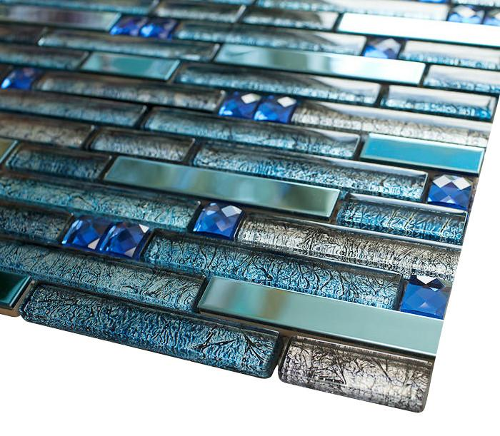Ocean Blue Stainless Steel Luxury Diamond Glass Mosaic Tiles - Free Shipping
