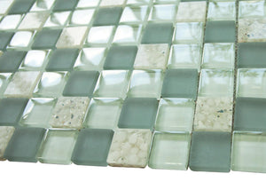Matte Mint & Glossy Blue White Sea Shells Glass Mosaic Tiles (Square Pattern)