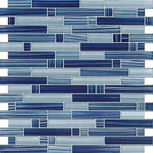 Glossy Electric Blue Colorful Stripes Glass Mosaic Backsplash Tiles