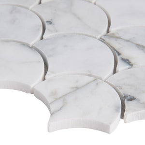 MSI Calacatta Blanco Scallop 12.8 in. x 10.43 in. x 10mm Polished Marble Mesh-Mounted Mosaic Tile