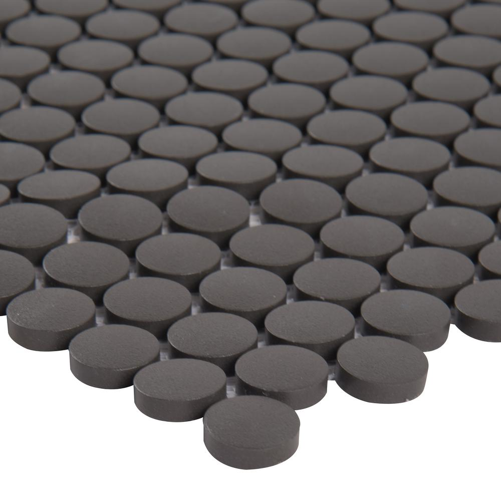 MSI Penny Round Nero 11.3 in. x 12.2 in. x 6mm Porcelain Mesh-Mounted Mosaic Tile