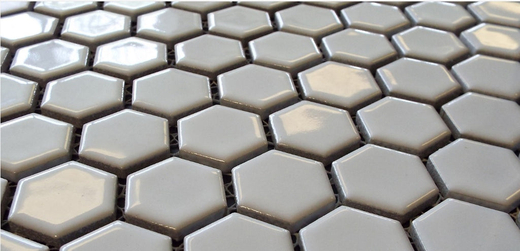Vogue Hexagon White Porcelain Mosaic Hex Glossy Tile Designed in Italy (12x12)