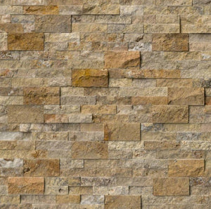Scabos Travertine Splitface Stacked Ledger Wall Panel 6 in. x 24 in. Natural Stone Tile