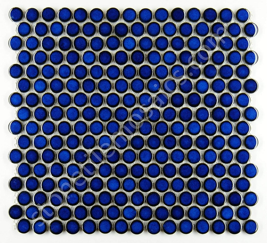 Penny Round Tile Cobalt Blue Porcelain Mosaic Shiny Look for Bathroom Floors and Walls, Kitchen Backsplashes, Pool Mosaic Tile - Free Shipping
