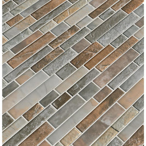 MS International  Taos Interlocking 12 in. x 13 in. x 8mm Glass Mesh-Mounted Mosaic Tile