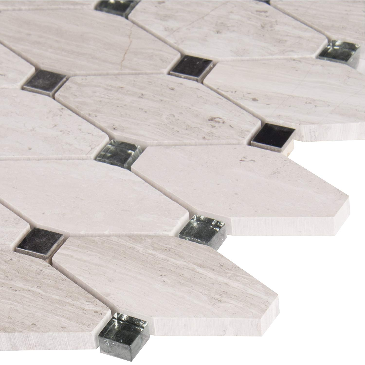 MS International Bayview Elongated Octagon 11.81 In. X 13.4 In. X 10 mm Glass Metall Mesh-Mounted Mosaic Tile